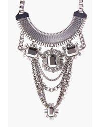 Boohoo | Black Mya Embellished Chain Statement Necklace | Lyst