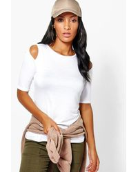 Boohoo | White Aria Cold Shoulder T-shirt | Lyst