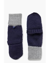 Boohoo - Blue Annabel Ribbed Contrast Knit Gloves - Lyst