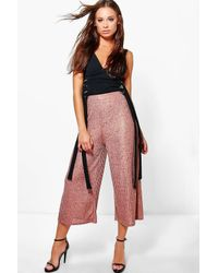 Boohoo | Multicolor Aurora Rose Gold Knitted Wide Leg Culottes | Lyst