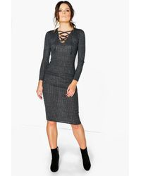 Boohoo - Black Sofia Ribbed Lace Front Bodycon Dress - Lyst