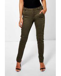 Boohoo - Blue Carla Utility Skinny Jeans - Lyst