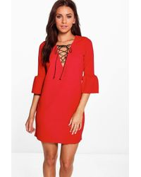 Boohoo - Multicolor Laura Flute Sleeve Lace Up Shift Dress - Lyst