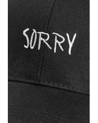 Boohoo Black Lucie Sorry Slogan Baseball Cap for men