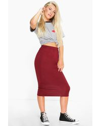 Boohoo - Blue Cacey Jersey Bodycon Midi Skirt - Lyst