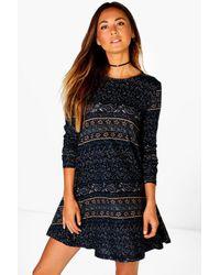 Boohoo - Blue Zoe Paisley Border Brushed Knit Swing Dress - Lyst