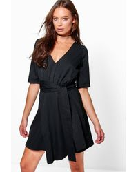 Boohoo - Black Caoimhe Plunge Wrap Shift Dress - Lyst