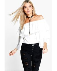Boohoo - White Becca Woven Frill Sleeve Off The Shoulder Top - Lyst