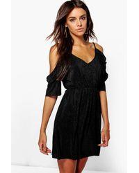 Boohoo - Black Ariel Pleated Cold Shoulder Dress - Lyst