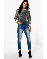 Boohoo Susie High Rise Distressed Boyfriend Jeans in Blue | Lyst