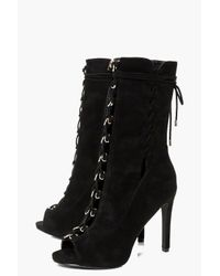 Boohoo - Black Lucia Peeptoe Lace Up Calf Shoe Boot - Lyst