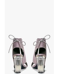 Boohoo Gray Paige Clear Heel Lace Up Shoe Boot