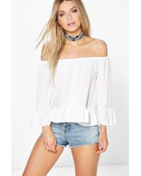Boohoo - White Tanya Off The Shoulder Bardot Gypsy Top - Lyst