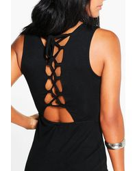Boohoo - Black Faye Metallic High Neck Plunge Bodycon Dress - Lyst