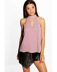 Boohoo - White Ruby Woven High Neck Plunge Blouse - Lyst