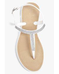 Boohoo - White Leila Diamante Thong Jelly - Lyst