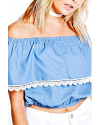 Boohoo - Blue Kirsty Off The Shoulder Frill Denim Top - Lyst