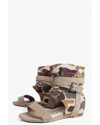 Boohoo - Natural Grace Camo Two Part Sandal - Lyst