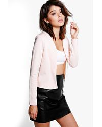 Boohoo - Pink Maisy Crop Fitted Blazer - Lyst