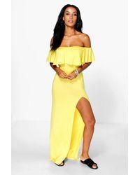 Boohoo - Yellow Lola Ruffle Split Side Maxi Dress - Lyst