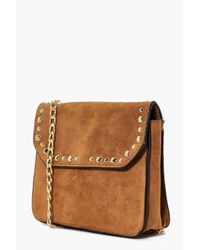 Boohoo Multicolor Neve Suedette Stud Chain Cross Body Bag