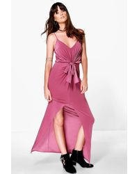 Boohoo - Pink Arianne Strappy Knot Detail Maxi Dress - Lyst