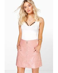 Boohoo | Black Gisella Pocket Front Leather Look A Line Skirt | Lyst