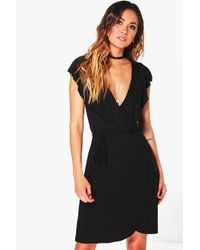 Boohoo | Black Ethel Frill Wrap Skater Dress | Lyst