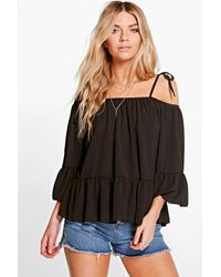 Boohoo - Black Ashley Strappy Off The Shoulder Woven Top - Lyst