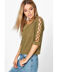 Boohoo - Multicolor Ivy Multi Strap Sleeve Strap Detail Tee - Lyst