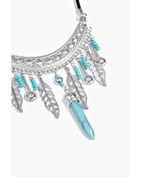 Boohoo - Metallic Zoe Statement Feather And Turquoise Necklace - Lyst