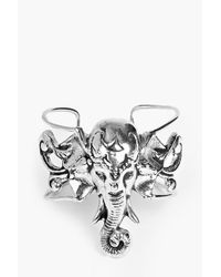 Boohoo - Metallic Amy Casted Elephant Head Boho Bracelet - Lyst