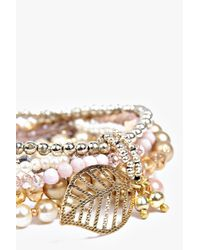 Boohoo - Metallic Eleanor Beaded Bracelet Pack - Lyst
