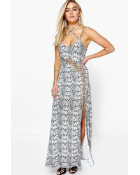 Boohoo | Gray Leanne Snake Print Viscose Strappy Maxi Dress | Lyst