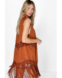Boohoo - Brown Charlotte Crochet Tassel Suedette Waistcoat - Lyst