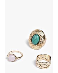 Boohoo - Metallic Sofia Multi Stone Ring Pack - Lyst