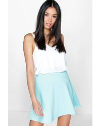 Boohoo | Blue Roseanna Fit And Flare Skater Skirt | Lyst