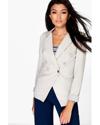 Boohoo - Natural Anna Double Breasted Woven Blazer - Lyst