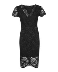 Boohoo - Black Aneta Lace Wrap Asymmetric Midi Dress - Lyst