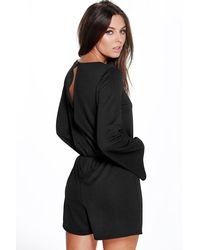 Boohoo - Black Grace Zip Detail Playsuit - Lyst