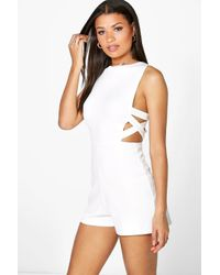 Boohoo White Sofia Lattice Side Textured Fabric Playsuit