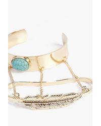 Boohoo - Metallic Tia Leaf Arm Cuff - Lyst