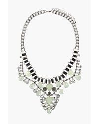 Boohoo | Metallic Ivy Jewelled Statement Necklace | Lyst