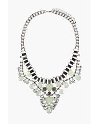 Boohoo - Metallic Ivy Jewelled Statement Necklace - Lyst