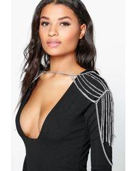 Boohoo - Metallic Erin Shoulder Drape Layered Body Chain - Lyst