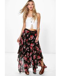 6216bdeee0e7d Boohoo Imani Floral Ruffle Hem High Low Maxi Skirt in Black - Lyst