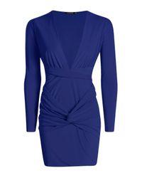 Boohoo - Blue Sophia Draped Wrap Slinky Midi Dress - Lyst
