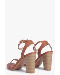 Boohoo - Brown Bella Two Part Block Heel - Lyst