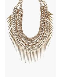 Boohoo | Metallic Nancy Spiked Metal Necklace | Lyst