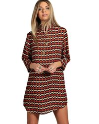 Boohoo - Multicolor Cassandra High Neck 3/4 Sleeve Shift Dress - Lyst